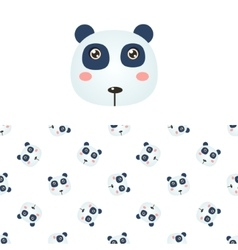 Panda Head Icon And Pattern vector image vector image