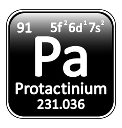 Periodic table element protactinium icon vector