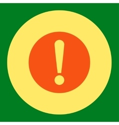 Problem flat orange and yellow colors round button vector