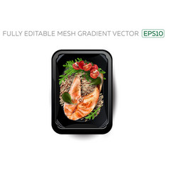 Red fish steak with rice in a lunchbox vector