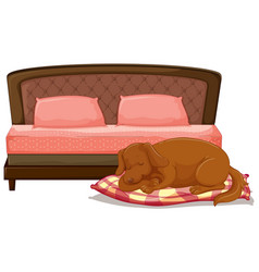 Scene with dog sleeping on pet bed vector