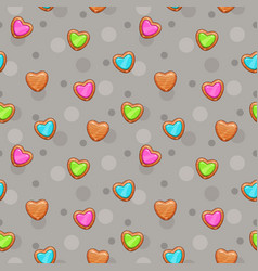 seamless pattern with cute wooden hearts vector image