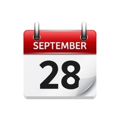 September 28 flat daily calendar icon vector