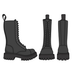 Set color with black boots vector