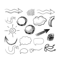 set of hand drawn doodle arrows speech bubbles etc vector image