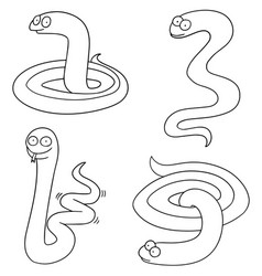 set of snake vector image