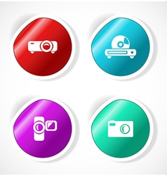 Set stickers with icons vector