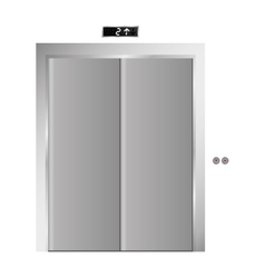 Silhouette elevator gray scale with closed door vector