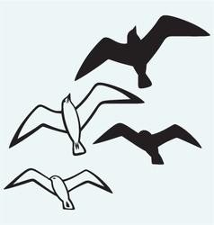 Silhouette seagulls vector
