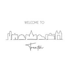single one line drawing trenton city skyline new vector image