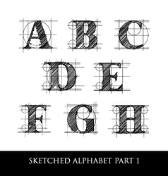 Sketched diagram alphabet set 1 vector