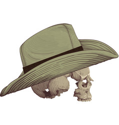skull in cowboy hat vector image