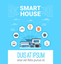 Smart home concept infographics modern house vector