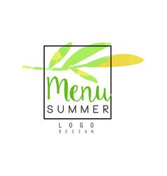 summer menu logo design badge for healthy food vector image vector image