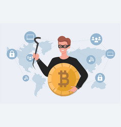 Thief in mask holding stolen bitcoin flat vector