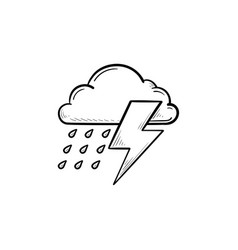 thunderstorm cloud hand drawn outline doodle icon vector image