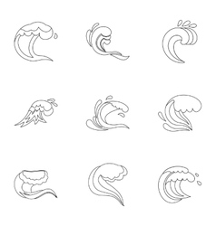 Tide icons set outline style vector