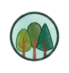 Tree plant forest hand drawing isolated icon vector