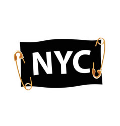 typography slogan nyc with pins and ribbon t vector image