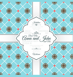 vintage blue spanish pattern card vector image