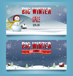 winter sale banners with snowman and village lands vector image