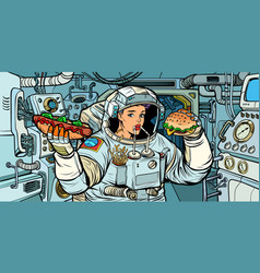 woman astronaut eats in a spaceship vector image