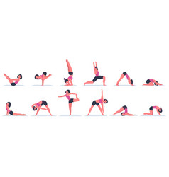 yoga woman young female character doing vector image