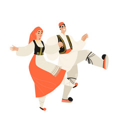 Young couple in traditional greek dress dancing vector