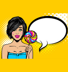 young sexy woman pop art hold candy vector image