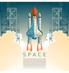 a flat style rocket takes off vector image