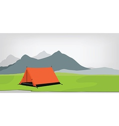 Camping tent mountains vector image