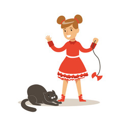 funny little girl in red dress playing with black vector image