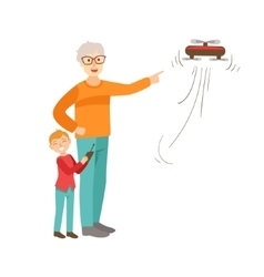 Grandfather And Grandson Flying A Drone Part Of vector image vector image