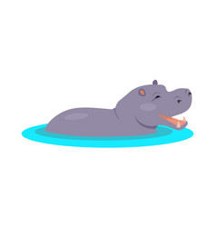hippo cartoon icon in flat design vector image vector image