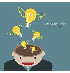 Lamp of idea concept out of head businessman vector image vector image