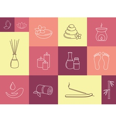 SPA ayurveda and beauty treatment icons set vector image