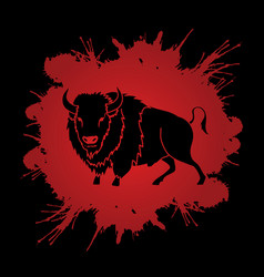 big buffalo standing graphic vector image vector image