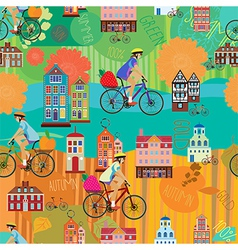 girl on a bicycle seamless pattern vector image vector image