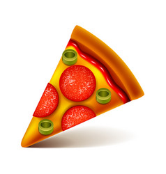 pepperoni pizza slice isolated on white vector image vector image