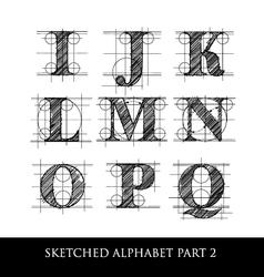 sketched diagram alphabet set 2 vector image vector image