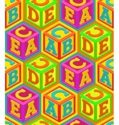Alphabet cubes seamless pattern vector image