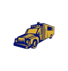 Ambulance Emergency Vehicle Truck Woodcut vector image vector image