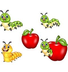 Cartoon funny Caterpillar collection set vector image vector image