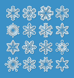collection of 16 white snowflakes with simple vector image