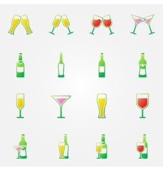 Drink alcohol bright icons vector image