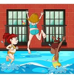 Girls diving and swimming in the pool vector image