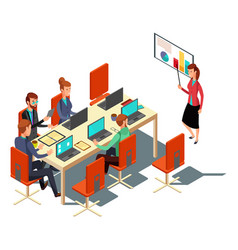 isometric business presentation meeting vector image vector image