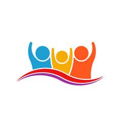 three people family logo verctor family vector image vector image