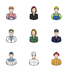 profession icons set cartoon style vector image