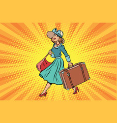 retro traveler girl with a suitcase vector image vector image